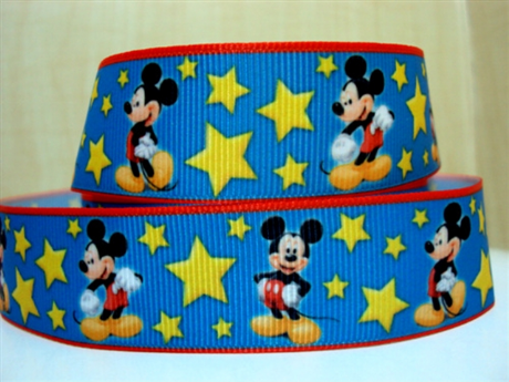 1 METRE MICKEY MOUSE GOLD STAR RIBBON SIZE 1 INCH BOWS HEADBANDS BIRTHDAY CAKE CARD MAKING HAIR